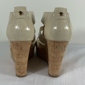 Michael Kors Shoes - Michael Kors Damita Nude Leather Wedge Sandals 8M
